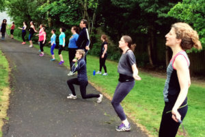 Evening fitness class for postnatal mums on Horfield Common.